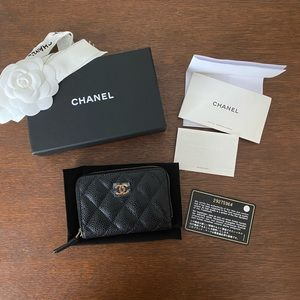 Authentic Chanel zip coin purse